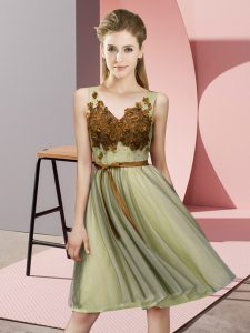 Glittering V-neck Sleeveless Lace Up Dama Dress for Quinceanera Yellow Tulle