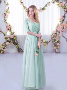 Enchanting Floor Length Side Zipper Quinceanera Dama Dress Light Blue for Wedding Party with Lace and Belt
