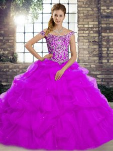 Attractive Purple Ball Gowns Tulle Off The Shoulder Sleeveless Beading and Pick Ups Lace Up Quinceanera Dresses Brush Train