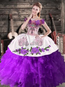 New Arrival Purple Organza Lace Up Off The Shoulder Sleeveless Floor Length 15th Birthday Dress Embroidery