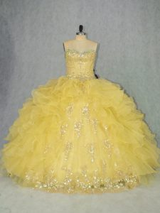 Ball Gowns Quinceanera Gowns Yellow Sweetheart Organza Sleeveless Floor Length Lace Up