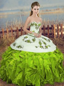 Olive Green Lace Up Sweetheart Embroidery and Ruffles and Bowknot Quinceanera Dresses Organza Sleeveless