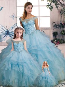 Noble Light Blue Organza Lace Up Quinceanera Dresses Sleeveless Floor Length Beading and Ruffles
