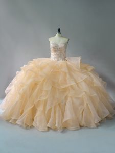 Sweetheart Sleeveless Brush Train Lace Up Quince Ball Gowns Gold Organza