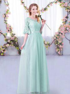 Light Blue Side Zipper Dama Dress Lace and Belt Half Sleeves Floor Length