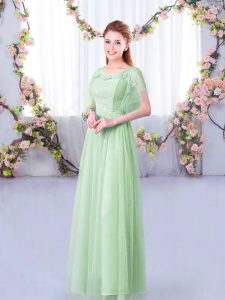 Short Sleeves Floor Length Side Zipper Dama Dress in Apple Green with Lace and Belt
