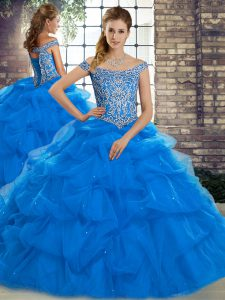 Charming Blue Ball Gowns Off The Shoulder Sleeveless Tulle Brush Train Lace Up Beading and Pick Ups Vestidos de Quinceanera