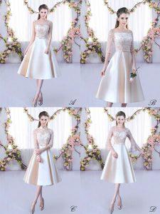 Customized Scoop Sleeveless Dama Dress Tea Length Lace and Belt Champagne Satin