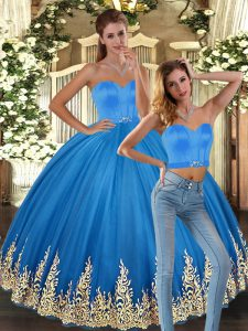 Clearance Baby Blue Two Pieces Sweetheart Sleeveless Tulle Floor Length Lace Up Embroidery Quinceanera Dresses