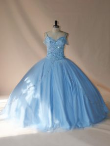 Blue and Light Blue Sleeveless Tulle Brush Train Lace Up Quinceanera Dresses for Sweet 16 and Quinceanera