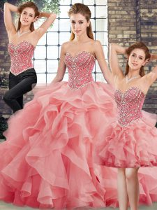 Hot Sale Watermelon Red Lace Up Sweetheart Beading and Ruffles 15 Quinceanera Dress Tulle Sleeveless Brush Train
