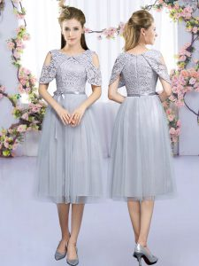 Admirable Tea Length Zipper Quinceanera Court Dresses Grey for Wedding Party with Lace and Belt