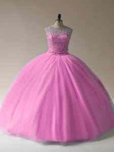 Stunning Scoop Sleeveless Lace Up Sweet 16 Quinceanera Dress Baby Pink Tulle