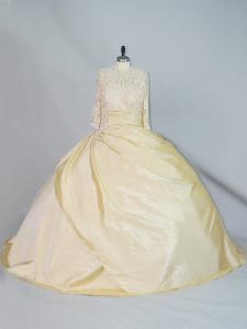Edgy Yellow Ball Gowns Lace 15 Quinceanera Dress Lace Up Taffeta Long Sleeves