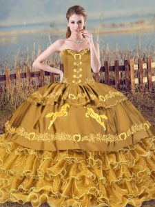 Fabulous Brown Lace Up Quince Ball Gowns Embroidery and Ruffles Sleeveless Brush Train