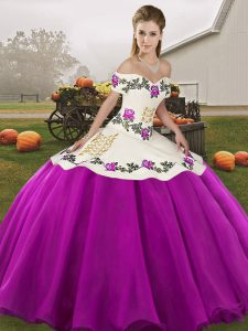 Super Sleeveless Floor Length Embroidery Lace Up Vestidos de Quinceanera with White And Purple