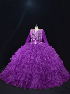 Ball Gowns Quinceanera Gowns Purple V-neck Organza Long Sleeves Floor Length Lace Up