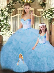 Ball Gowns Quinceanera Gown Blue Sweetheart Organza Sleeveless Floor Length Lace Up