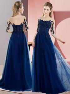 Navy Blue Chiffon Lace Up Bateau Half Sleeves Floor Length Quinceanera Court of Honor Dress Beading and Lace