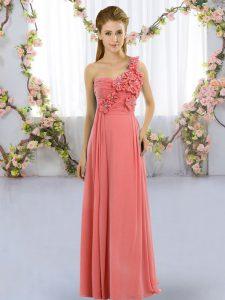 Floor Length Watermelon Red Vestidos de Damas One Shoulder Sleeveless Lace Up