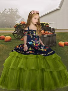 Exceptional Sleeveless Lace Up Floor Length Embroidery Pageant Dress Womens