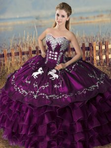 Sophisticated Sweetheart Sleeveless Satin and Organza 15th Birthday Dress Embroidery and Ruffles Lace Up