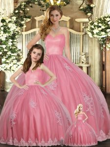 Floor Length Ball Gowns Sleeveless Watermelon Red Quinceanera Gown Lace Up