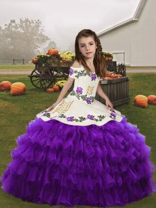 Adorable Floor Length Eggplant Purple Pageant Dress Toddler Straps Sleeveless Lace Up