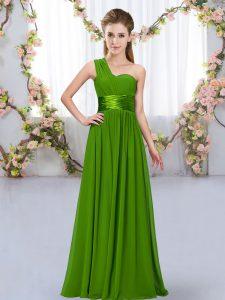 Chiffon Sleeveless Floor Length Dama Dress and Belt