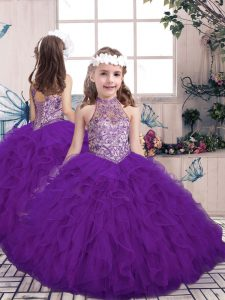 Ball Gowns Little Girl Pageant Gowns Purple High-neck Tulle Sleeveless Floor Length Lace Up