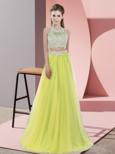 Fabulous Halter Top Sleeveless Zipper Dama Dress for Quinceanera Yellow Tulle
