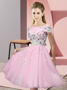 Exquisite Baby Pink Short Sleeves Appliques Knee Length Dama Dress for Quinceanera