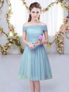 Top Selling Off The Shoulder Short Sleeves Tulle Vestidos de Damas Belt Lace Up