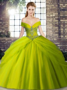 Ideal Beading and Pick Ups Sweet 16 Dress Olive Green Lace Up Sleeveless Brush Train