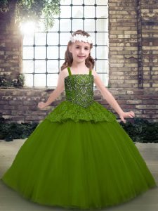Clearance Sleeveless Floor Length Beading Lace Up Pageant Dress for Girls with Olive Green