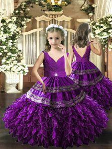 Eggplant Purple Ball Gowns Beading and Appliques and Ruffles and Ruching Little Girls Pageant Dress Backless Organza Sleeveless Floor Length