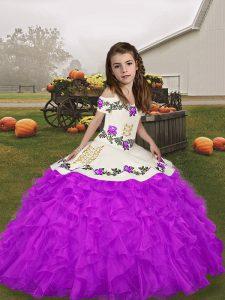 Lovely Purple Sleeveless Beading and Ruffles Floor Length Girls Pageant Dresses