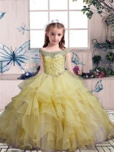Admirable Floor Length Ball Gowns Sleeveless Yellow Child Pageant Dress Lace Up