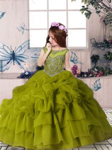 Custom Fit Olive Green Ball Gowns Organza Scoop Sleeveless Beading and Pick Ups Floor Length Zipper High School Pageant Dress