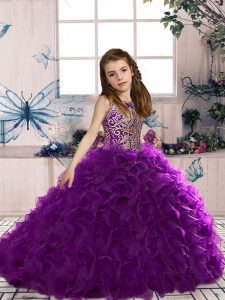 Excellent Floor Length Eggplant Purple Girls Pageant Dresses Organza Sleeveless Beading and Ruffles