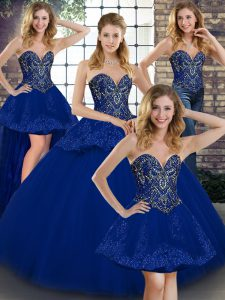 Traditional Floor Length Ball Gowns Sleeveless Royal Blue Sweet 16 Dresses Lace Up