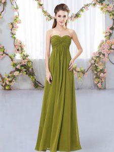 Stunning Olive Green Sleeveless Floor Length Ruching Zipper Dama Dress