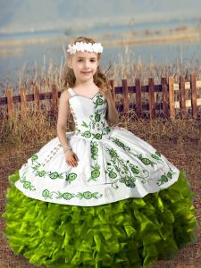 Excellent Olive Green Lace Up Little Girls Pageant Gowns Embroidery and Ruffles Sleeveless Floor Length