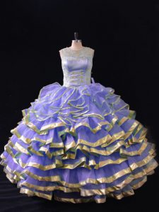 Admirable Ruffled Layers Quinceanera Gowns Lavender Lace Up Sleeveless Floor Length