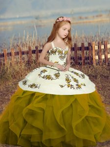 Classical Olive Green Lace Up Pageant Dress for Girls Embroidery and Ruffles Sleeveless Floor Length