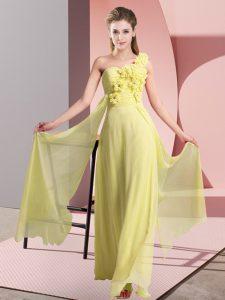 Yellow Sleeveless Chiffon Lace Up Vestidos de Damas for Wedding Party