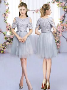 Stunning Grey Sleeveless Tulle Zipper Quinceanera Court Dresses for Wedding Party