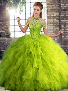 Latest Olive Green Ball Gowns Beading and Ruffles Quinceanera Dress Lace Up Tulle Sleeveless Floor Length