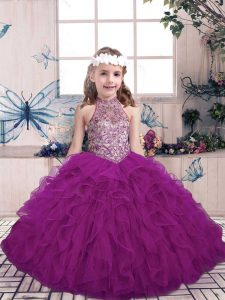 Sleeveless Floor Length Beading and Ruffles Lace Up Kids Pageant Dress with Purple