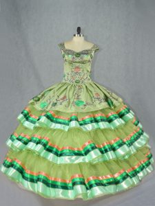 Olive Green Ball Gowns Organza Straps Sleeveless Embroidery and Ruffled Layers Floor Length Lace Up Quinceanera Gown